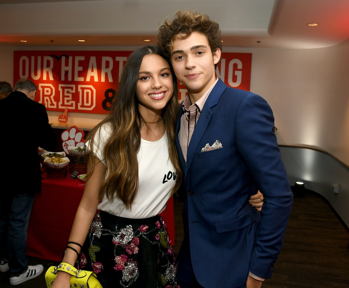 """BURBANK, CALIFORNIA - NOVEMBER 01: Olivia Rodrigo (L) and Joshua Bassett pose at the after party for the premiere of Disney+'s """"High School Musical: The Musical: The Series"""" at the Walt Disney Studio lot on November 01, 2019 in Burbank, California. (Photo by Kevin Winter/Getty Images)"""