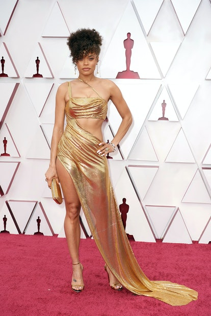 LOS ANGELES, CALIFORNIA – APRIL 25: (EDITORIAL USE ONLY) In this handout photo provided by A.M.P.A.S., Andra Day attends the 93rd Annual Academy Awards at Union Station on April 25, 2021 in Los Angeles, California. (Photo by Matt Petit/A.M.P.A.S. via Getty Images)