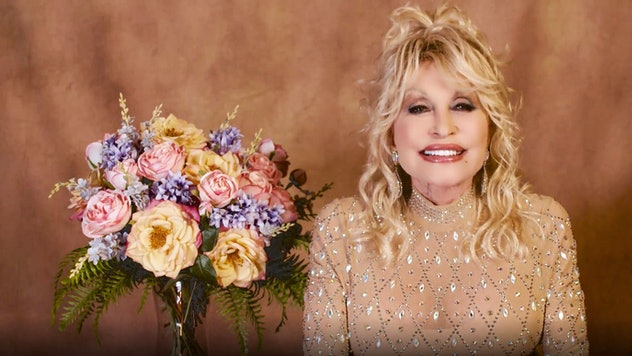 NASHVILLE, TENNESSEE - APRIL 18: In this screengrab released on April 18, Dolly Parton speaks at the...