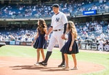 NEW YORK - SEPTEMBER 13: Alex Rodriguez #13 of the New York Yankees enters the field with daughters Natasha and Ella during the pre-game ceremony honoring Alex's 3000th hit before the game against the Toronto Blue Jays at Yankee Stadium on September 13, 2015 in the Bronx borough of New York City. (Photo by Rob Tringali/SportsChrome/Getty Images)