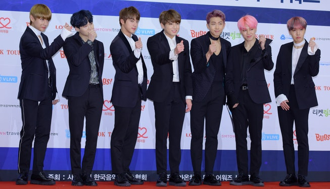 SEOUL, SOUTH KOREA - FEBRUARY 22: BTS attends the 2017 Gaon Chart K-Pop Award at Jamsil Arena on February 22, 2017 in Seoul, South Korea. (Photo by The Chosunilbo JNS/Imazins via Getty Images)