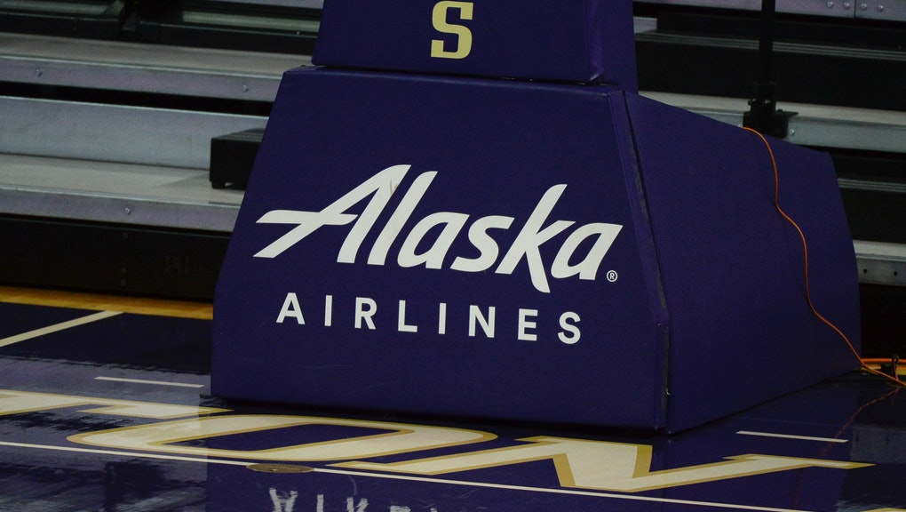 SEATTLE, WA - JANUARY 24: An Alaska Airlines ad is seen during a PAC12 conference college basketball game between the Utah Utes and the Washington Huskies on January 24, 2021 at Hec Edmundson Pavilion in Seattle, WA. (Photo by Jeff Halstead/Icon Sportswire via Getty Images)
