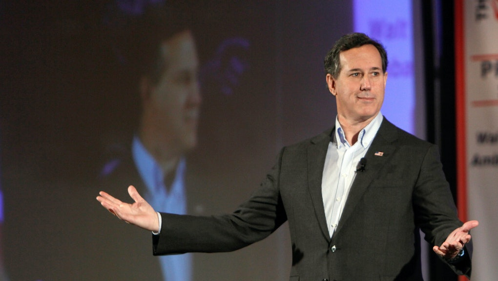(Nashua, NH 012316 )  Republican presidential candidate former U.S. Senator Rick Santorum speaks during First-in -the Nation Presidential Town Hall at Radisson Hotel Nashua, New Hampshire January 23, 2016.    Staff Photo by Chitose Suzuki (Photo by Chitose Suzuki/MediaNews Group/Boston Herald via Getty Images)