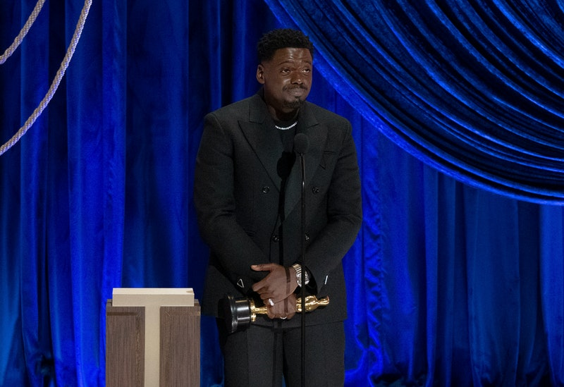 LOS ANGELES, CALIFORNIA – APRIL 25: (EDITORIAL USE ONLY) In this handout photo provided by A.M.P.A.S., Daniel Kaluuya accepts the Actor in a Supporting Role award for 'Judas and the Black Messiah' onstage during the 93rd Annual Academy Awards at Union Station on April 25, 2021 in Los Angeles, California. (Photo by Todd Wawrychuk/A.M.P.A.S. via Getty Images)