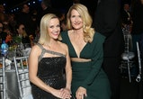 US actress Reese Witherspoon (L) and US actress Laura Dern attend the 26th Annual Screen Actors Guild Awards show at the Shrine Auditorium in Los Angeles on January 19, 2020. (Photo by Michael TRAN / AFP) (Photo by MICHAEL TRAN/AFP via Getty Images)