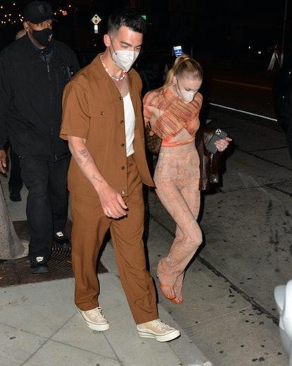 LOS ANGELES, CA - APRIL 24:  Joe Jonas and Sophie Turner are seen on April 24, 2021 in Los Angeles, ...