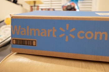 Box with logo for Walmart online ordering and delivery, San Ramon, California, May 12, 2020. (Photo by Smith Collection/Gado/Getty Images)