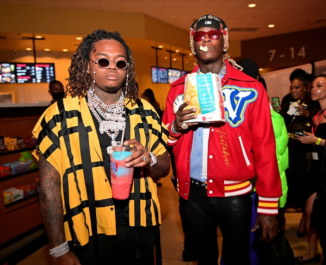 "ATLANTA,GA - MARCH 08: Gunna and Young Thug attend ""Dutch"" Atlanta Premiere at AMC Phipps Plaza on March 8, 2021 in Atlanta, Georgia. (Photo by Prince Williams/Filmmagic)"