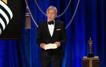 LOS ANGELES, CALIFORNIA – APRIL 25: (EDITORIAL USE ONLY) In this handout photo provided by A.M.P.A.S., Harrison Ford speaks onstage during the 93rd Annual Academy Awards at Union Station on April 25, 2021 in Los Angeles, California. (Photo by Todd Wawrychuk/A.M.P.A.S. via Getty Images)