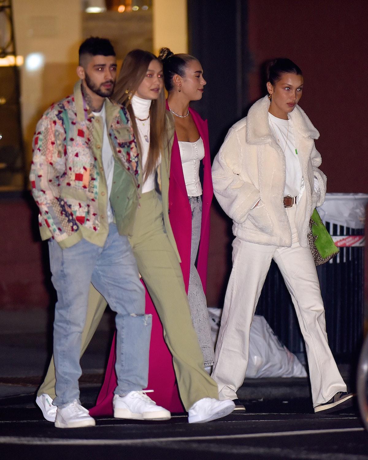 NEW YORK, NY - JANUARY 11:  Gigi Hadid, with Zayn Malik and Bella hadid and Dua Lipa seen out celebrating a birthday in Manhattan on  January 11, 2020 in New York City.  (Photo by Robert Kamau/GC Images)
