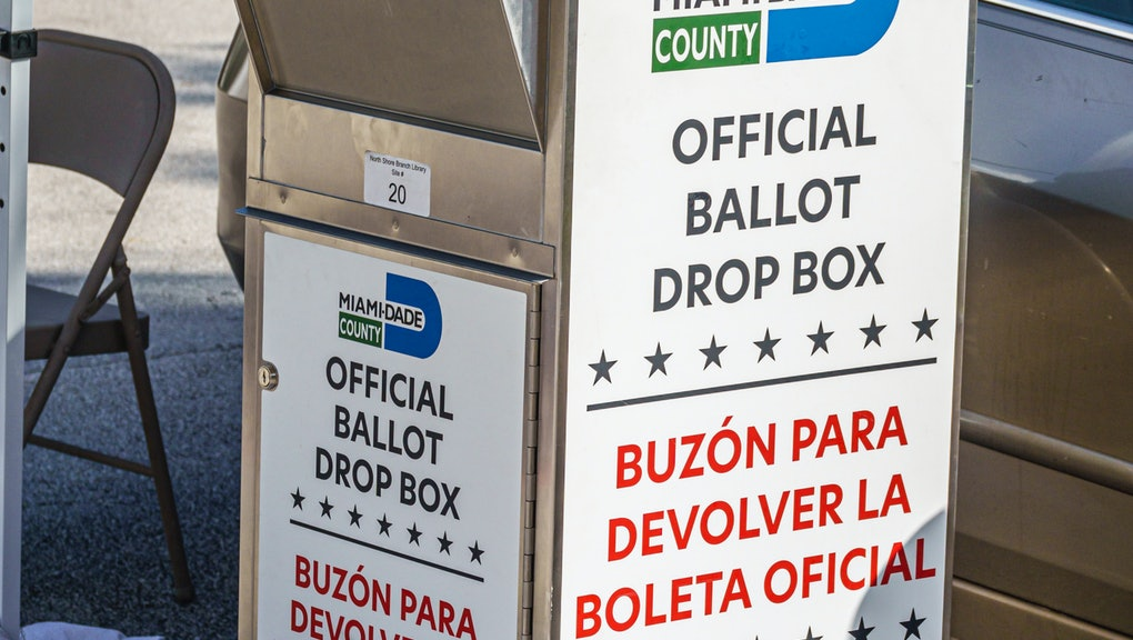 Miami Beach, early voting Miami-Dade County official ballot drop box. (Photo by: Jeffrey Greenberg/Education Images/Universal Images Group via Getty Images)