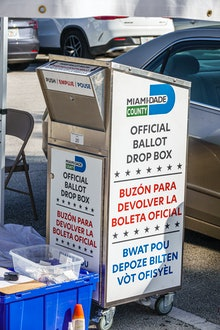 Miami Beach, early voting Miami-Dade County official ballot drop box. (Photo by: Jeffrey Greenberg/E...