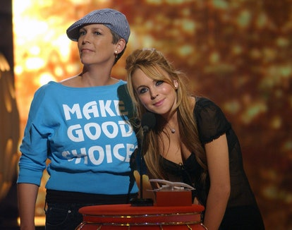 Presenters Jamie Lee Curtis and Lindsay Lohan for Choice TV Comedy Actor (Photo by Steve Grayson/WireImage)