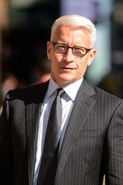 """NEW YORK, NY - AUGUST 24:  Television personality Anderson Cooper enters """"The Late Show With Stephen Colbert"""" taping at the Ed Sullivan Theater on August 24, 2016 in New York City.  (Photo by Ray Tamarra/GC Images)"""