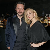 LONDON, ENGLAND - OCTOBER 17:  Cast members David Oakes (L) and Natalie Dormer attend the press nigh...