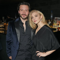 """LONDON, ENGLAND - OCTOBER 17:  Cast members David Oakes (L) and Natalie Dormer attend the press night after party for """"Venus In Fur"""" at Mint Leaf on October 17, 2017 in London, England.  (Photo by David M. Benett/Dave Benett/Getty Images)"""