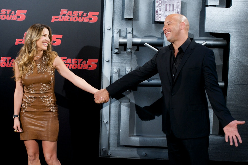 Spanish actress Elsa Pataky (L) and American actor Vin Diesel (R) attend a 'Fast & Furious 5' photocall at Hotel Santo Mauro on April 26, 2011 in Madrid, Spain. (Photo by Juan Naharro Gimenez/WireImage)