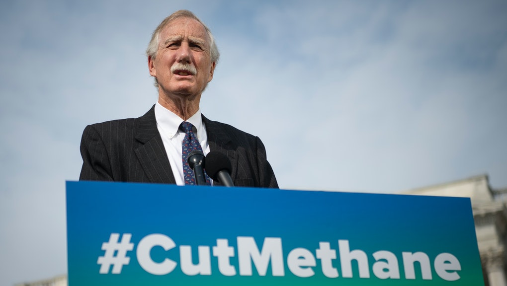 UNITED STATES - April 28: Sen. Angus King, I-Maine, speaks during a news conference about the Senate...