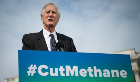UNITED STATES - April 28: Sen. Angus King, I-Maine, speaks during a news conference about the Senate vote, later in the day, on methane regulation outside in Washington on Wednesday, April 28, 2021. The vote will use the Congressional Review Act (CRA) to overturn rollbacks of methane regulation enacted by the Trump administration. (Photo by Caroline Brehman/CQ-Roll Call, Inc via Getty Images)