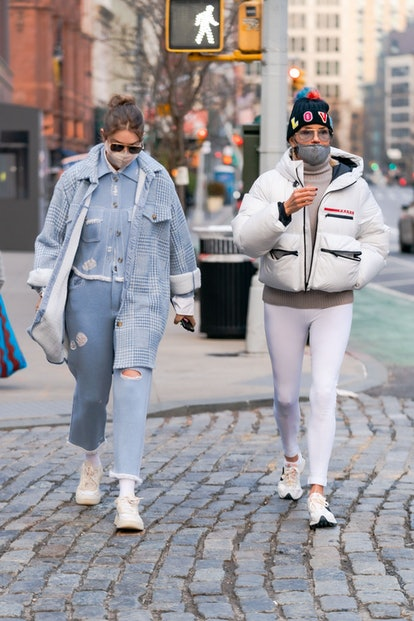 NEW YORK, NEW YORK - JANUARY 13: Gigi Hadid (L) and Yolanda Hadid are seen in NoHo on January 13, 2021 in New York City. (Photo by Gotham/GC Images)