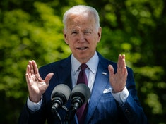 President Joe Biden delivers remarks on the front lawn of the White House on the ongoing Covid-19 response, in Washington, DC. (Photo by Bill O'Leary/The Washington Post via Getty Images)