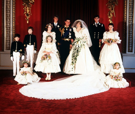 The Prince & Princess of Wales (c) and their young attendants. (Sitting L-R) Catherine Cameron & Clementine Hambro. (Standing L-R) Lord Nicholas Windsor, Edward Van Cutsem, Sarah Jane Caseless (in front of) India Hicks, Prince Edward, Prince Andrew & Lady Sarah Armstrong.   (Photo by PA Images via Getty Images)