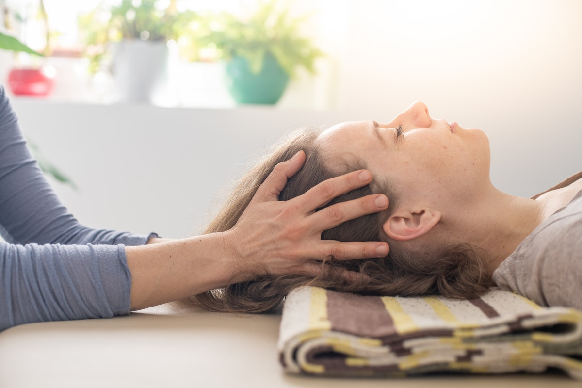 Woman practicing Somatic movement in her Health Studio, Awareness through movement, embodiment and F...