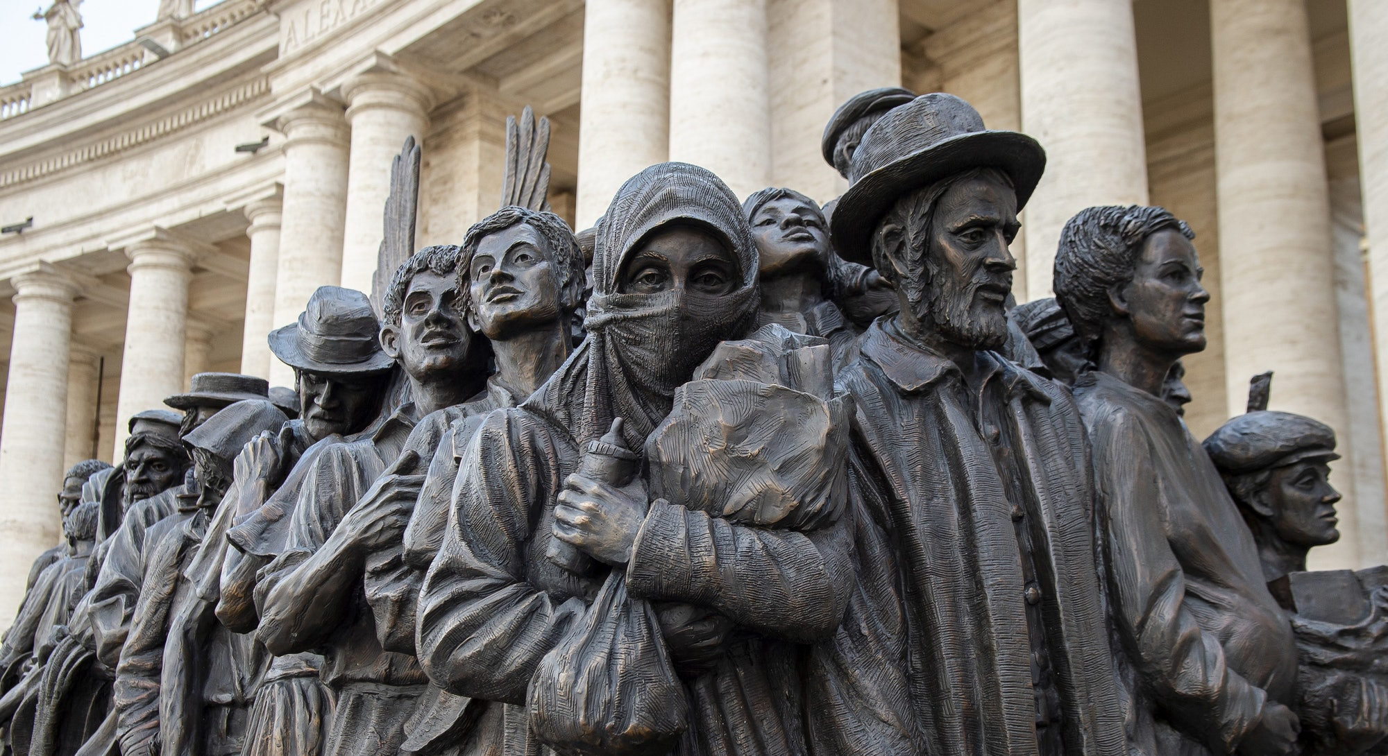 Close-up of a sculpture called 'Angels Unaware' by Canadian sculptor Timothy P. Schmalz depicting a group of 140 migrants of various cultures and from different historic times, following a mass for World Day of Migrants and Refugees at the Vatican. (Photo by: Godong/Universal Images Group via Getty Images)