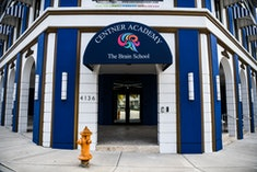 Center Academy private school building is seen in Miamis Design District  in Miami, on April 27, 2021. - A private school in Florida is barring teachers who have been vaccinated against Covid-19 from coming into contact with students, arguing against all evidence that the educators pose a health risk. Critics have held up the move by the Centner Academy as a particularly glaring example of the dangers of misinformation as the US works to get its population inoculated. (Photo by CHANDAN KHANNA / AFP) (Photo by CHANDAN KHANNA/AFP via Getty Images)