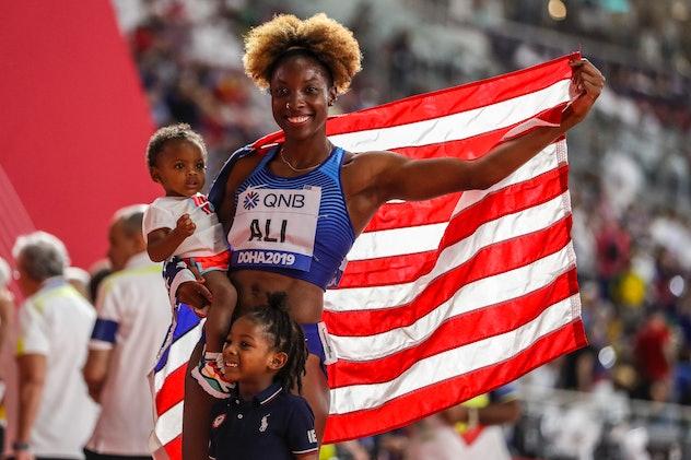 DOHA, QATAR - OCTOBER 06: Nia Ali of the United States celebrates winning gold in the Women's 100 metres hurdles final during day ten of 17th IAAF World Athletics Championships Doha 2019 at Khalifa International Stadium on October 06, 2019 in Doha, Qatar. (Photo by Maja Hitij/Getty Images)
