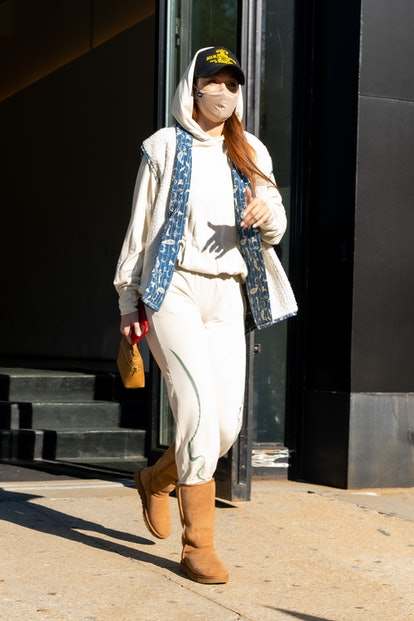 NEW YORK, NEW YORK - APRIL 26: Gigi Hadid is seen in Tribeca on April 26, 2021 in New York City. (Ph...