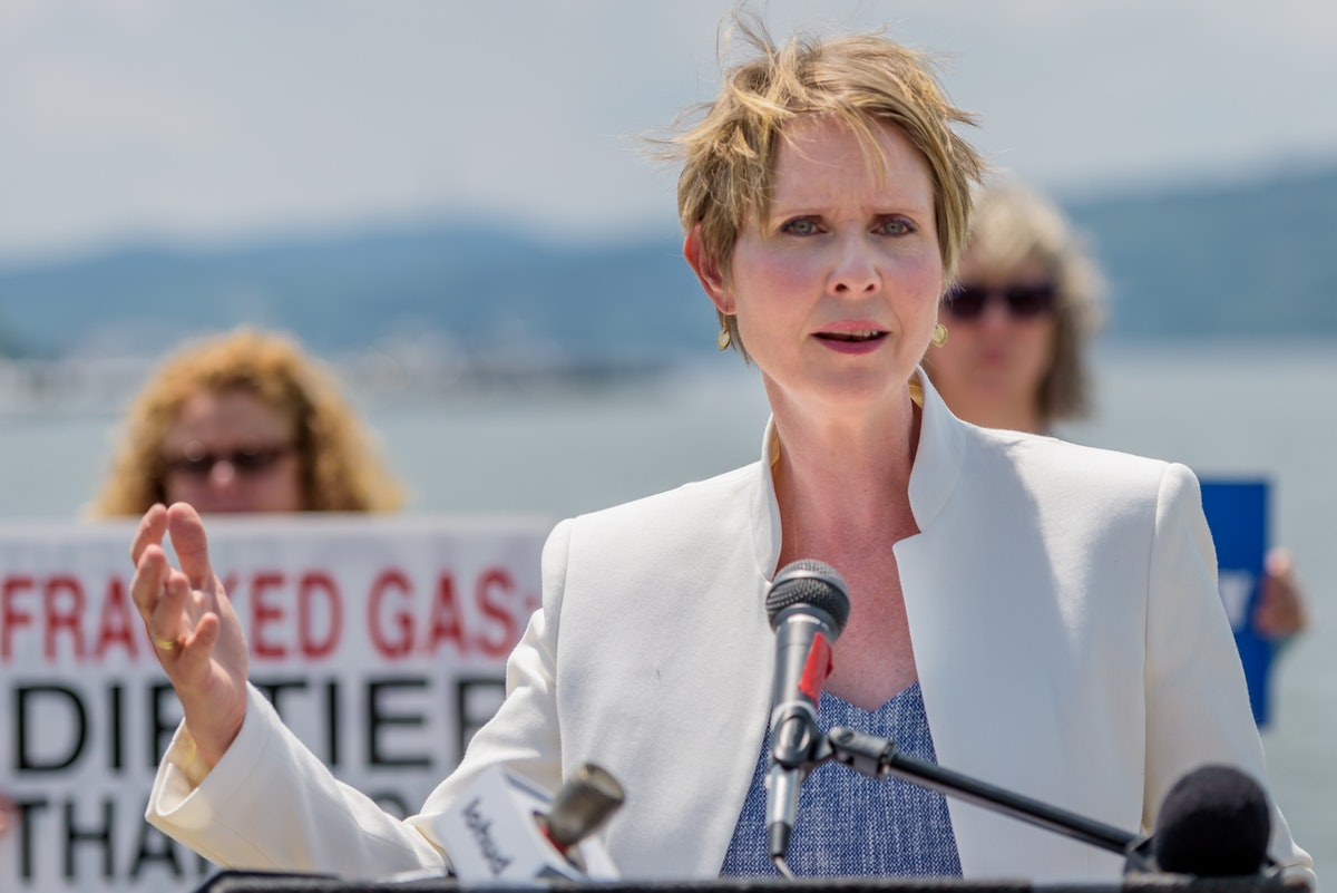 PEEKSKILL, NEW YORK, UNITED STATES - 2018/07/13: Cynthia Nixon, Candidate for NY Governor, held a pr...