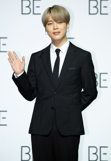 SEOUL, SOUTH KOREA - NOVEMBER 20: Jimin of BTS during BTS's New Album 'BE (Deluxe Edition)' Release ...