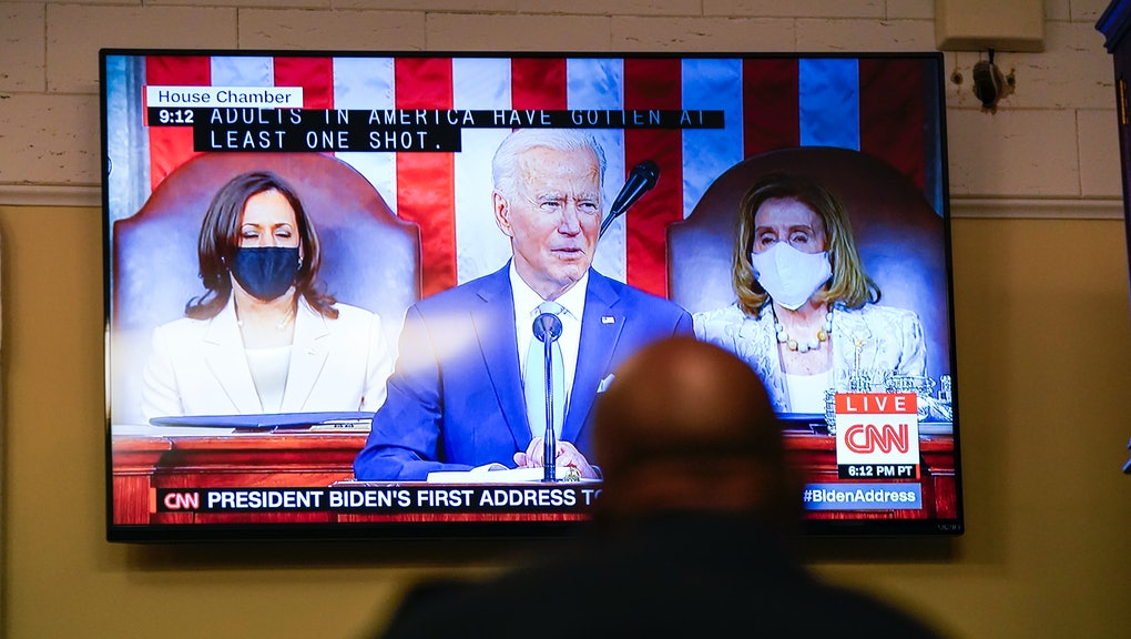 WASHINGTON, DC - APRIL 28: A screen shows President Joe Bidens address of the Joint Session of the 117th Congress on the eve of his 100th day in office, at the U.S. Capitol Building on Wednesday, April 28, 2021 in Washington, DC.  (Kent Nishimura / Los Angeles Times via Getty Images)