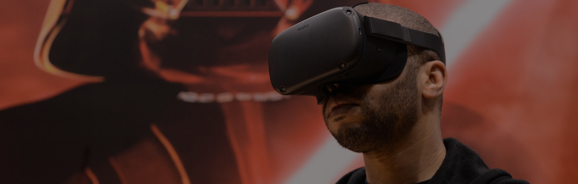 """CHICAGO, IL - APRIL 15:  An attendee plays the 'Vader Immortal: A Star Wars VR Series"""" experience on the Oculus Quest during Star Wars Celebration at McCormick Place Convention Center on April 15, 2019 in Chicago, Illinois.  (Photo by Daniel Boczarski/FilmMagic)"""