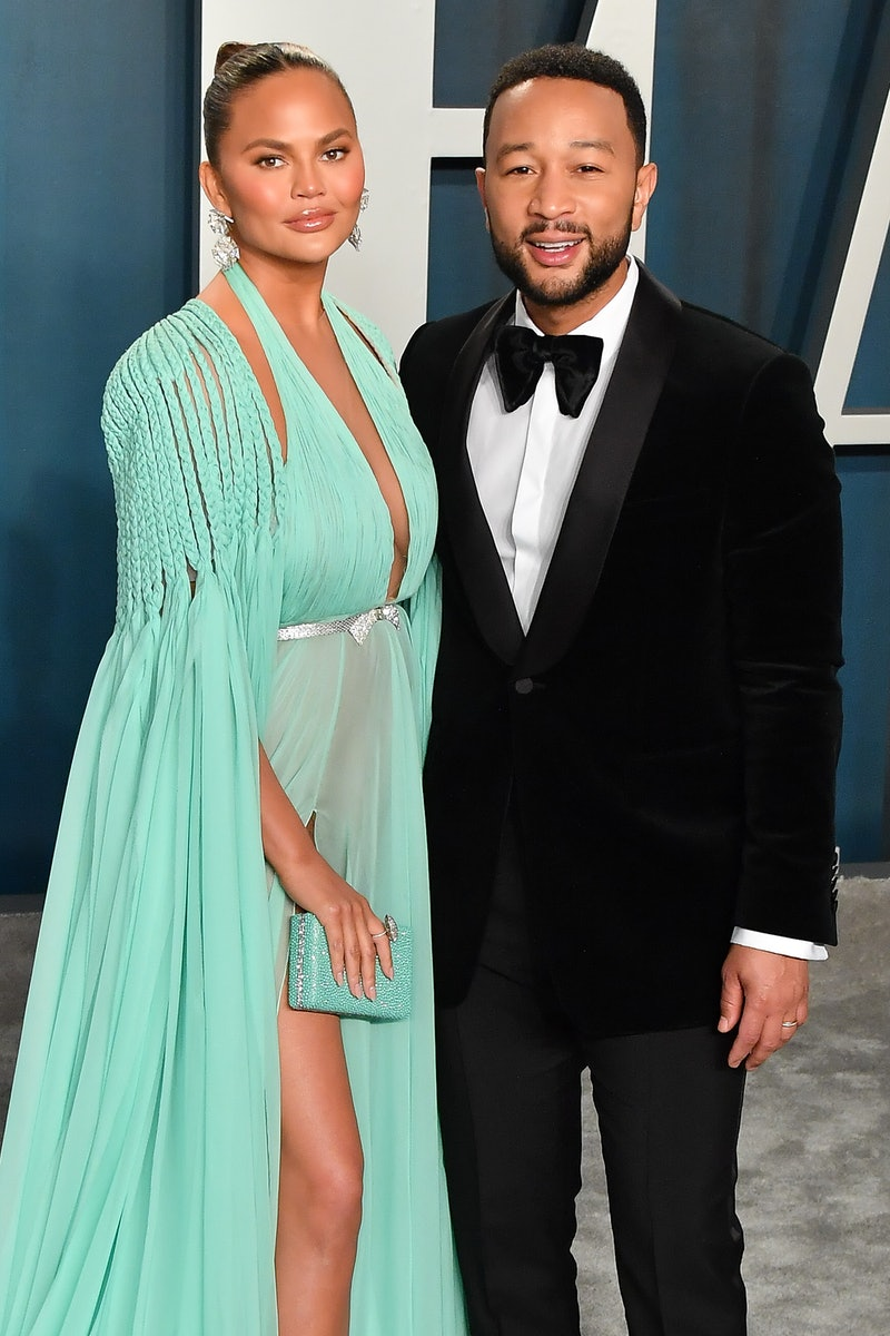 BEVERLY HILLS, CALIFORNIA - FEBRUARY 09: Chrissy Teigen and John Legend arrive at the 2020 Vanity Fair Oscar Party hosted by Radhika Jones at Wallis Annenberg Center for the Performing Arts on February 09, 2020 in Beverly Hills, California. (Photo by Allen Berezovsky/Getty Images)