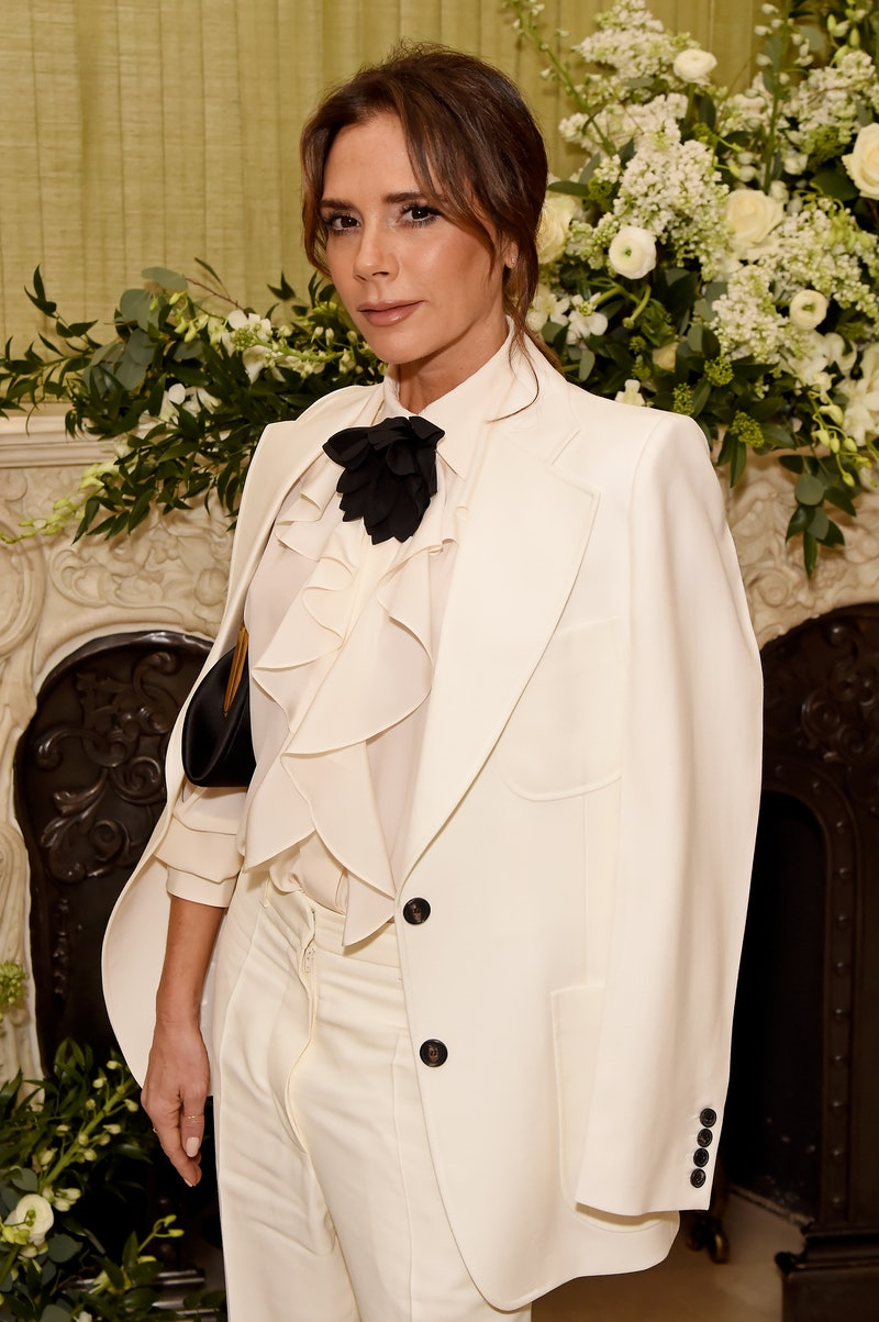 LONDON, ENGLAND - FEBRUARY 02:  Victoria Beckham attends the British Vogue and Tiffany & Co. Fashion...