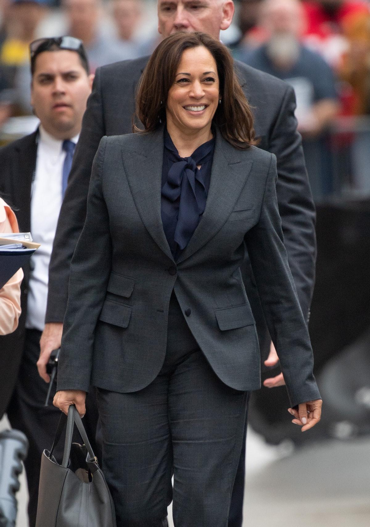 LOS ANGELES, CA - MARCH 19: Senator Kamala Harris is seen at 'Jimmy Kimmel Live' on March 19, 2019 i...