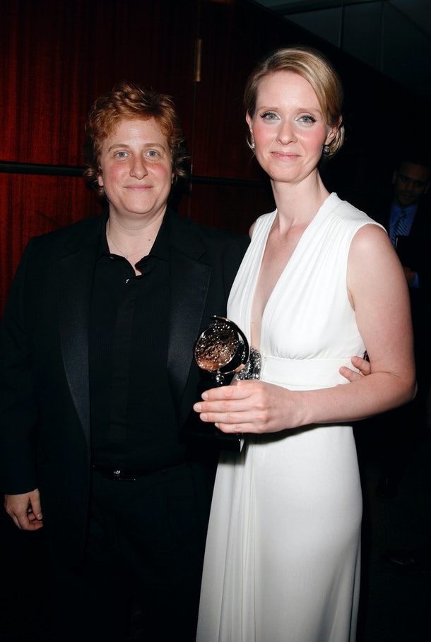 Cynthia Nixon & Partner Christine Marinoni in the press room at the 60th Annual Tony Awards held at Radio City Music Hall in New York City. June 11, 2006. (Photo by Walter McBride/Corbis via Getty Images)