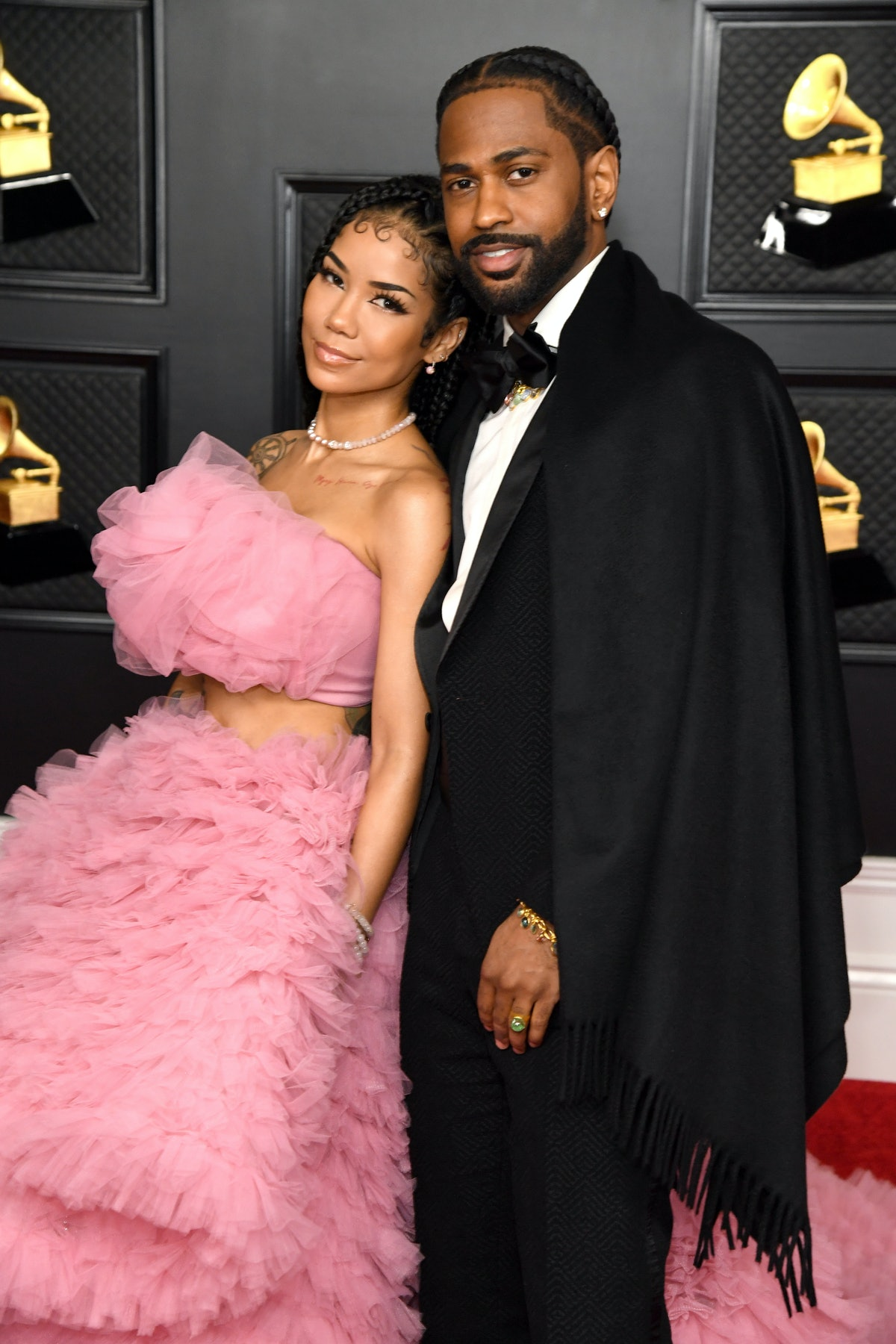 LOS ANGELES, CALIFORNIA - MARCH 14: (L-R) Jhené Aiko and Big Sean attend the 63rd Annual GRAMMY Awards at Los Angeles Convention Center on March 14, 2021 in Los Angeles, California. (Photo by Kevin Mazur/Getty Images for The Recording Academy )