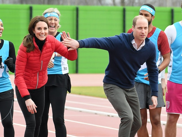 Prince William and Kate Middleton prepare to race.