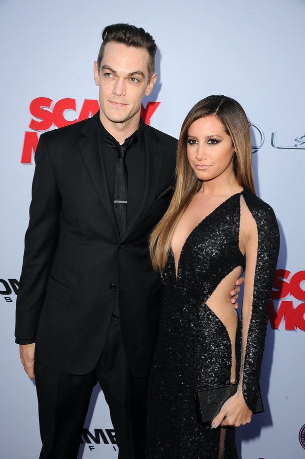 "HOLLYWOOD, CA - APRIL 11:  Actress Ashley Tisdale (L) and Christopher French arrive at the ""Scary Movie V"" Los Angeles premiere at ArcLight Cinemas Cinerama Dome on April 11, 2013 in Hollywood, California.  (Photo by Steve Granitz/WireImage)"