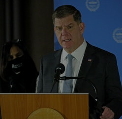 Boston MA. - January 14:   Boston Mayor Marty Walsh speaks as the outgoing Mayor gives his daily Covid update for the city of Boston on January 14, 2021 in Boston, MA. (Staff Photo By Stuart Cahill/MediaNews Group/Boston Heraldvia Getty Images)