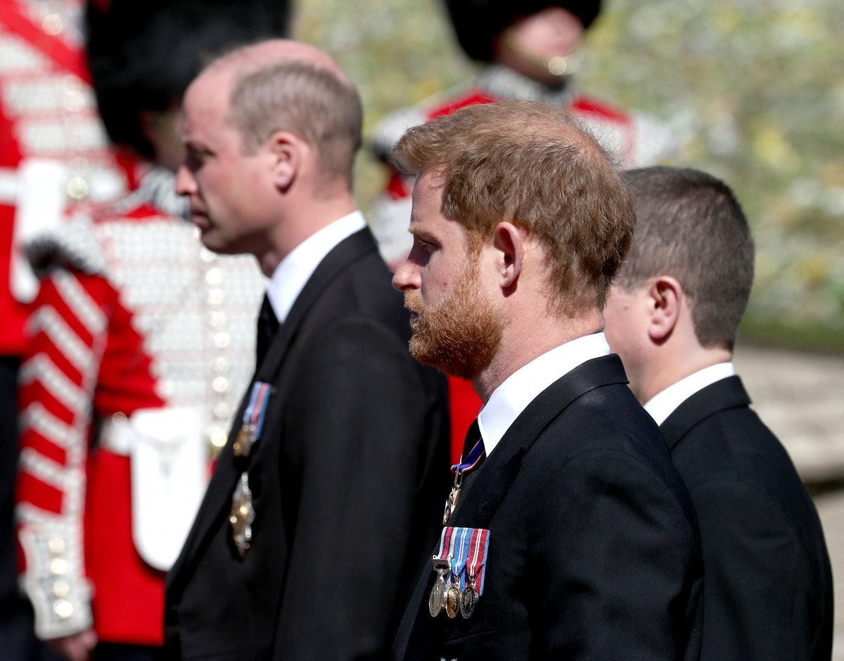 Britain's Prince William, Duke of Cambridge (L) and Britain's Prince Harry, Duke of Sussex follow the coffin during the ceremonial funeral procession of Britain's Prince Philip, Duke of Edinburgh to St George's Chapel in Windsor Castle in Windsor, west of London, on April 17, 2021. - Philip, who was married to Queen Elizabeth II for 73 years, died on April 9 aged 99 just weeks after a month-long stay in hospital for treatment to a heart condition and an infection. (Photo by Gareth Fuller / various sources / AFP) (Photo by GARETH FULLER/AFP via Getty Images)