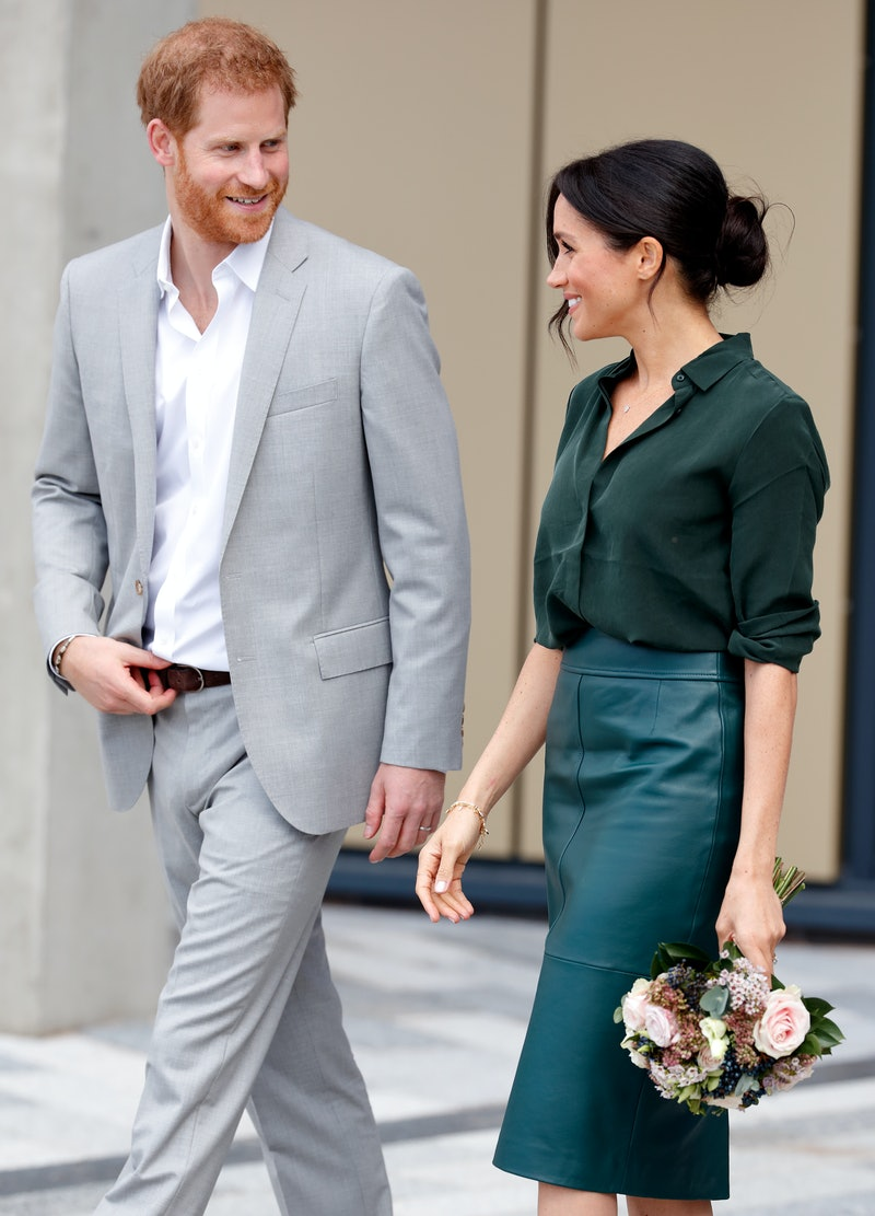 BOGNOR REGIS, UNITED KINGDOM - OCTOBER 03: (EMBARGOED FOR PUBLICATION IN UK NEWSPAPERS UNTIL 24 HOURS AFTER CREATE DATE AND TIME) Prince Harry, Duke of Sussex and Meghan, Duchess of Sussex visit the University of Chichester's Engineering and Technology Park on October 3, 2018 in Bognor Regis, England. The Duke and Duchess married on May 19th 2018 in Windsor and were conferred The Duke & Duchess of Sussex by The Queen. (Photo by Max Mumby/Indigo/Getty Images)