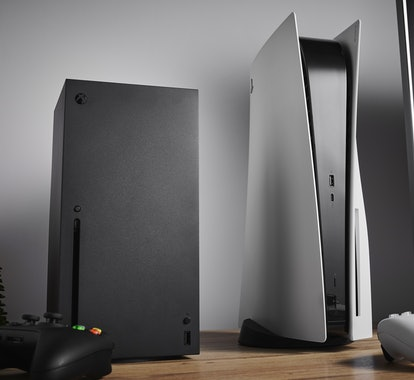 Living room with Microsoft Xbox Series X (L) and Sony PlayStation 5 home video game consoles alongsi...