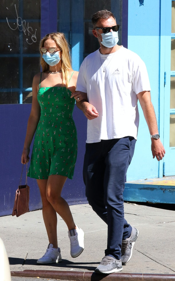 NEW YORK CITY, NY - SEPTEMBER 5: Jennifer Lawrence and husband Cooke Maroney walk wearing masks on September 5, 2020 in New York City, New York. (Photo by LRNYC/ MEGA/GC Images)