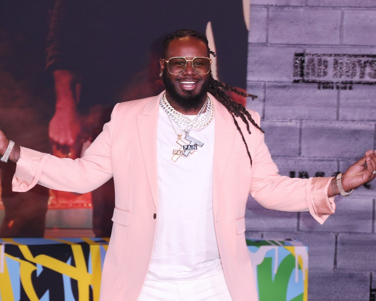 """HOLLYWOOD, CALIFORNIA - JANUARY 14: T-Pain attends Premiere Of Columbia Pictures' """"Bad Boys For Life""""  at TCL Chinese Theatre on January 14, 2020 in Hollywood, California. (Photo by Leon Bennett/WireImage)"""