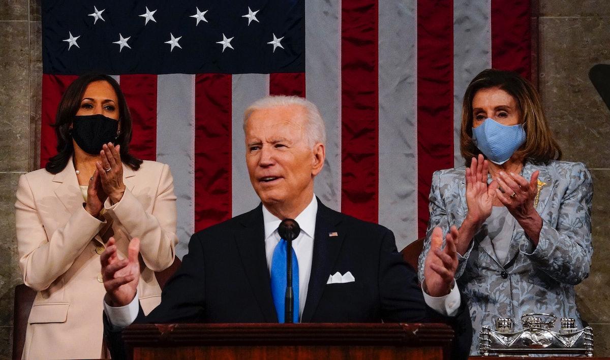 Doug Emhoff was peak supportive husband to Kamala Harris during President Biden's April 28 address.