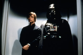 American actor Mark Hamill and British David Prowse on the set of Star Wars: Episode VI - Return of the Jedi directed by Welsh Richard Marquand. (Photo by Sunset Boulevard/Corbis via Getty Images)